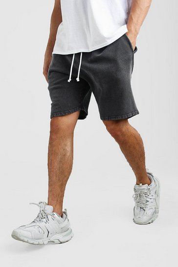 Dark grey Relaxed Fit Acid Wash Jersey Short