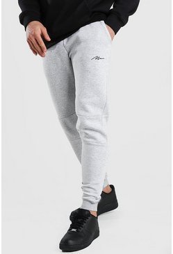 Grey marl MAN Signature Panelled Jogger With Cuff