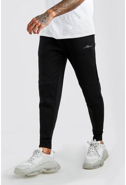Black MAN Signature Panelled Jogger With Cuff