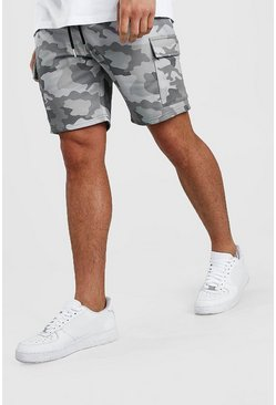 Light grey Camo Cargo Mid Length Short