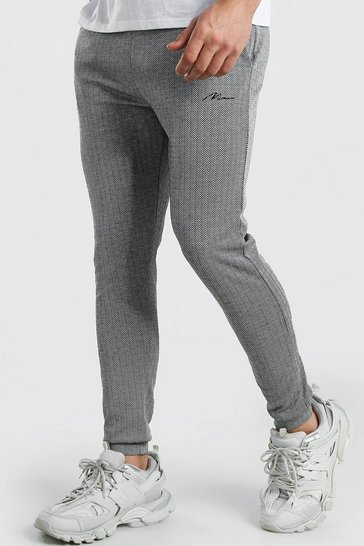 Black MAN Signature Herringbone Jogger With Cuff
