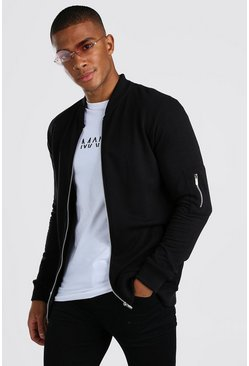 Muscle Fit MA1 Jersey Bomber , Black