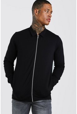 Harrington en jersey coupe fit, Noir