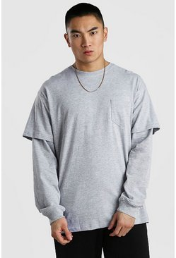 Grey marl Long Sleeve Layered T-Shirt In Loose Fit