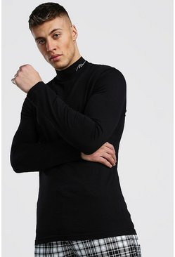 Black MAN Signature Turtle Neck Embroidered T-Shirt