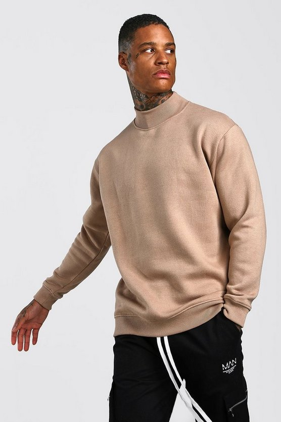 Taupe Loose Fit Sweatshirt With Turtle Neck