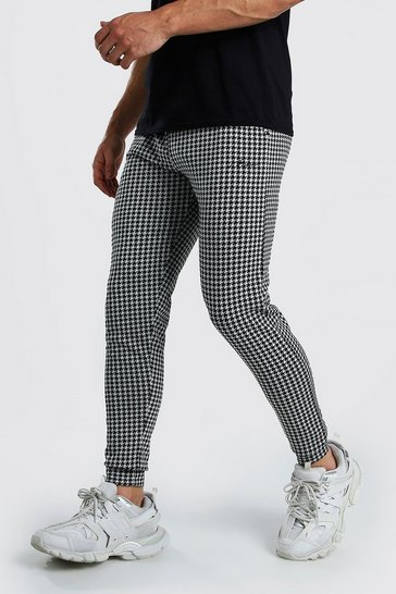 Black MAN Signature Houndstooth Check Cuffed Joggers