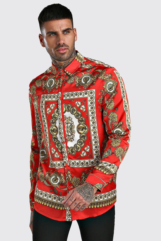 mens long sleeve satin baroque print shirt - red