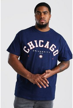 Navy Big And Tall Chicago Varsity Print T-Shirt
