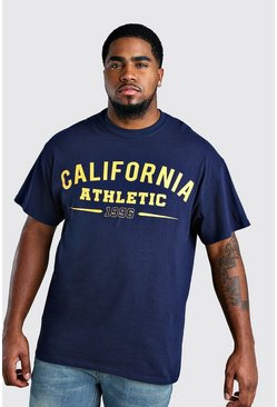 Camiseta con estampado universitario California Big And Tall, Azul marino