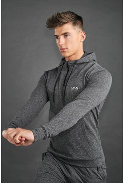 Charcoal MAN Active Yoga Funnel Neck Hoodie