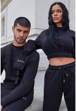 Black His Utility Sweater Tracksuit With Buckles