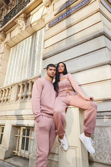 Dusky pink His Sweater Tracksuit With Embroidered Neck