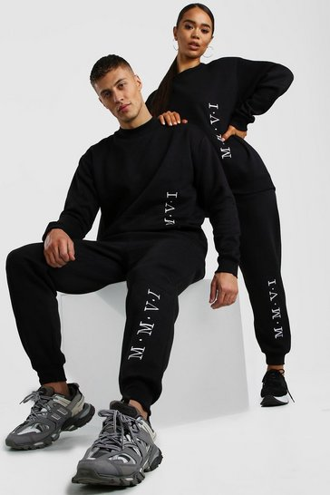 Black His Loose Fit Extended Neck Sweater Tracksuit