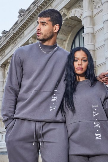 Slate His Loose Fit Extended Neck Sweater Tracksuit