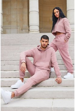 Dusky pink His Boxy Fit Hooded Tracksuit With Embroidery