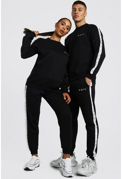 Black His Loose Fit Sweater Tracksuit With Tape Detail