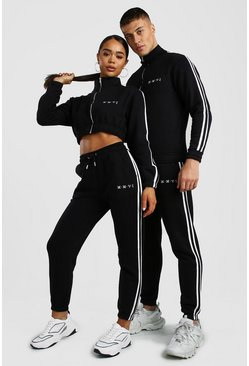 Black His Funnel Neck Tracksuit With Side Tape