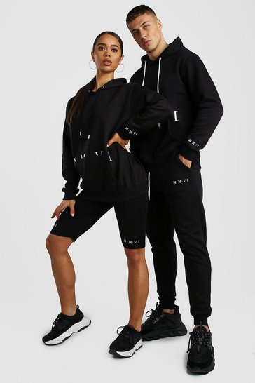 Black His Hooded Tracksuit With Print