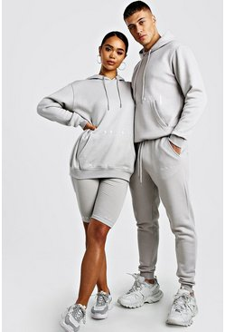 His Hooded Tracksuit With Print, Stone