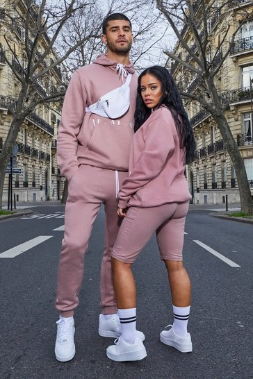 Dusky pink His Hooded Tracksuit With Print