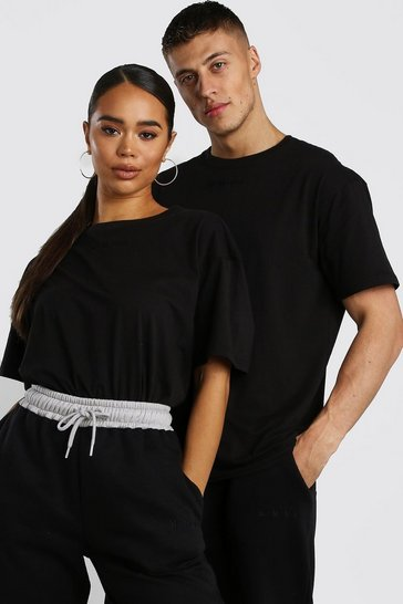 Black His Raw Edge Loose Fit T-Shirt With Embroidery