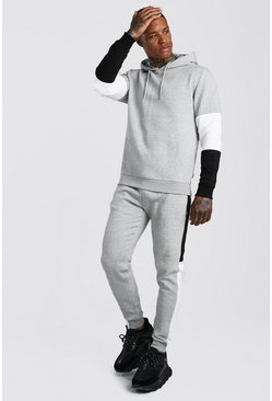 Mens Grey marl Colour Block Hooded Tracksuit