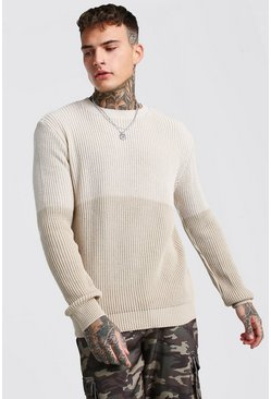 Stone Ombre Tonal Knitted Jumper