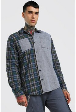 Green Long Sleeve Oversized Mixed Check Shirt
