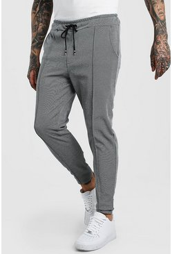 Grey Herringbone Skinny Fit Pintuck Jogger