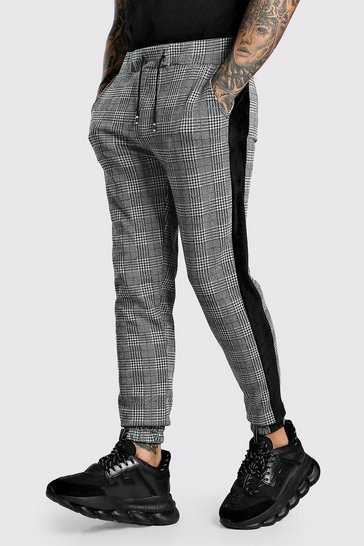 Grey Check Skinny Fit Jogger With Velour Side Panel