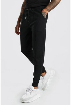 Black Pique Pintuck Jogger With Cuff