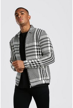 Textured Houndstooth Shacket, Black