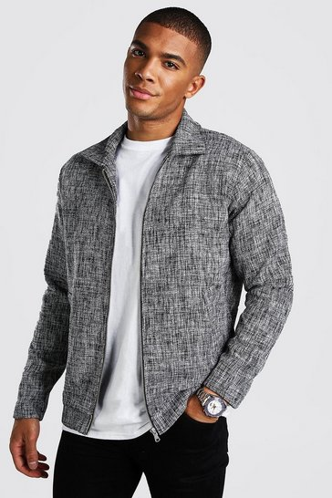 Black Smart Salt & Pepper Coach Jacket