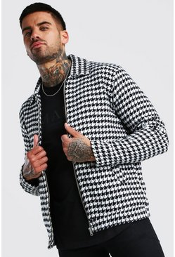Black Houndstooth Zip Through Harrington Jacket