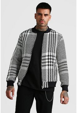 Textured Houndtooth Bomber With Pocket, Black