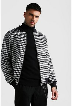 Black Houndstooth Bomber