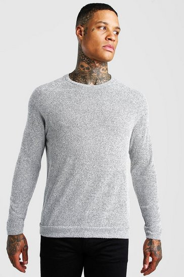 Grey Birds Eye Knit Raglan Crew Neck Jumper