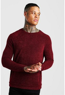 Birds Eye Knit Raglan Crew Neck Jumper, Rust