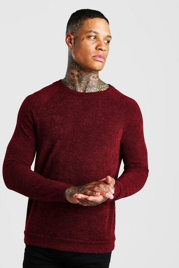 Rust Birds Eye Knit Raglan Crew Neck Jumper