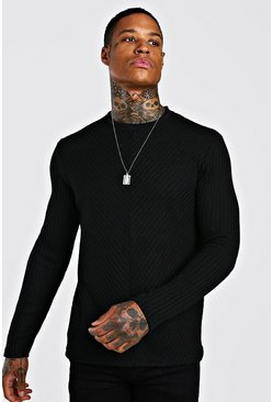 Textured Cable Knit Jumper, Black