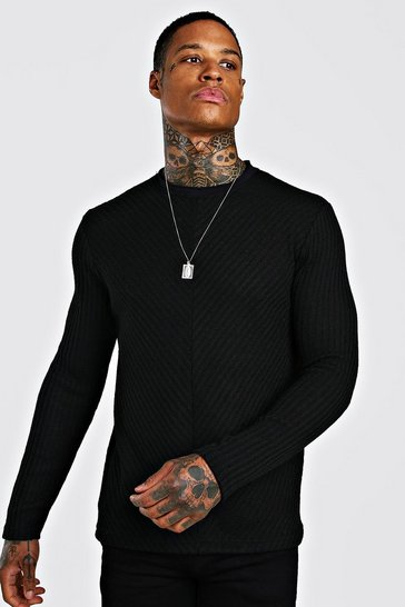 Black Textured Cable Knit Jumper