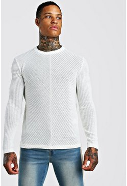 White Textured Cable Knit Jumper