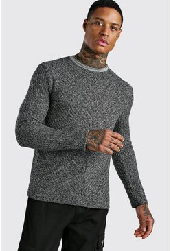 Textured Cable Knit Jumper, Charcoal
