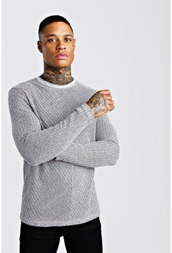 Grey Textured Cable Knit Jumper