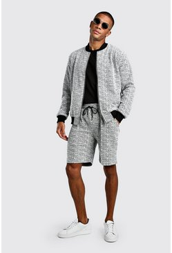 Grey Boucle Knitted Bomber And Pin Tuck Short Set