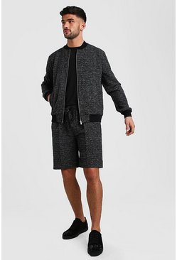Black Boucle Knitted Bomber And Pin Tuck Short Set