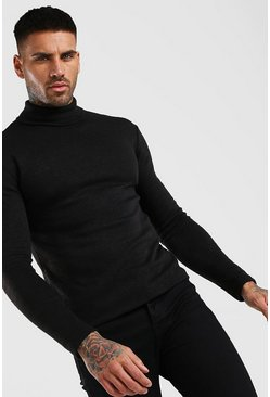 Muscle Fit Soft Touch Knitted Roll Neck Jumper, Black