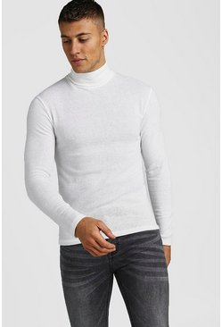 Muscle Fit Soft Touch Knitted Roll Neck Jumper, White