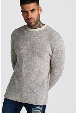 Taupe Soft Touch Fine Knit Crew Neck Jumper